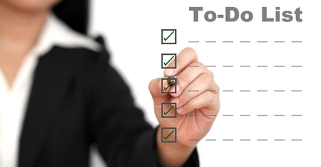 list: Asian business woman listing to do list Stock Photo