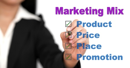 resentation: Asian businesswoman doing marketing mix for business Stock Photo