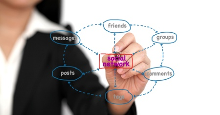 Asian business woman writing social network activity online Stock Photo - 10298674