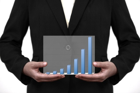 hold up: businesswoman hold up trend business sale graph on hand Stock Photo
