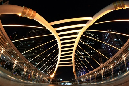 bangkok square bridge in business downtown sathorn zone photo