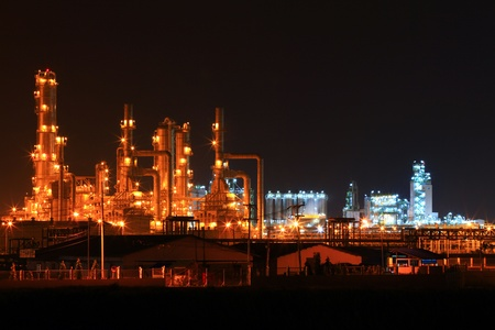 distillery: landscape of  petrochemical oil refinery plant at night