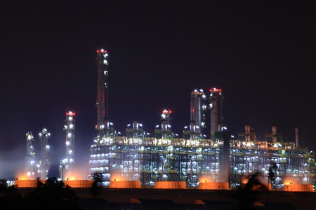 petrochemical plant: closeup of petrochemical oil refinery plant at night