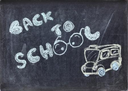drawing of back to school on blackboard photo