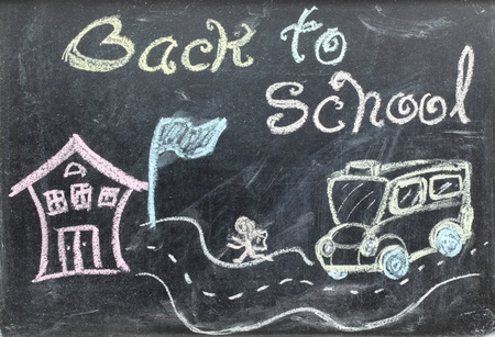 drawing of back to school concept on blackboard photo