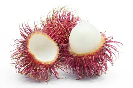 rambutan: fresh peel tropical rambutan fruit on white background