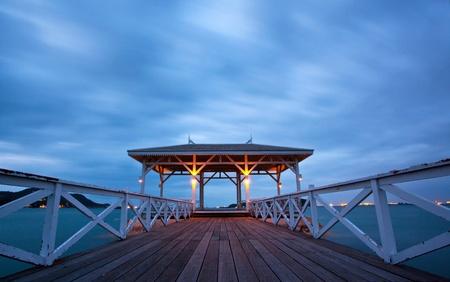 pavillion: jetty walkway with pavillion at dusk, Srichang Island Pattaya Thailand