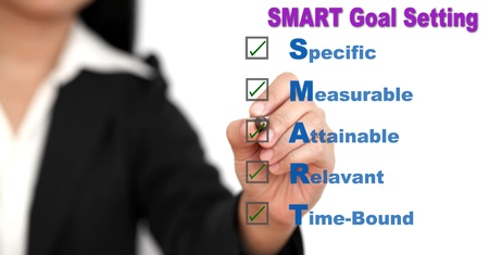 Asian business woman writing SMART Goal setting specific, measurable, attainable, relevant, time on whiteboard Stock Photo