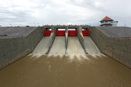 hydroelectric: Water pouring through the water gates at dam