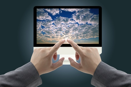 business mand touch at Computer Monitor with cloud computing Concept Stock Photo - 10429894