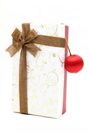 seasonal greeting: gift box with ornament for seasonal greeting Stock Photo