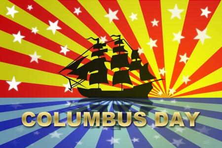 Christopher Columbus Day Holiday, celebration for USA exploration. Stock Photo - 10492505