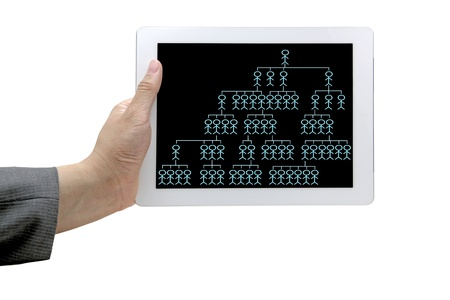 online organiztion chart on touch screen for business building concept photo
