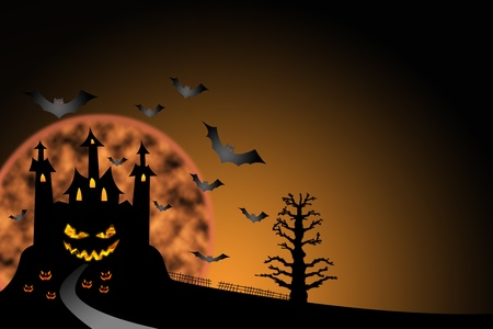 pathway to horror castle halloween background photo