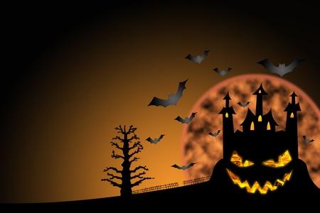 horror castle halloween background photo