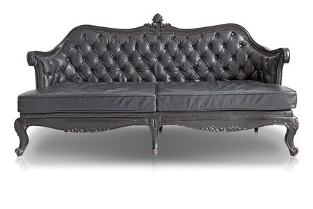 isolated Armchair black genuine leather classical style sofa with clipping path Stock Photo - 10542043