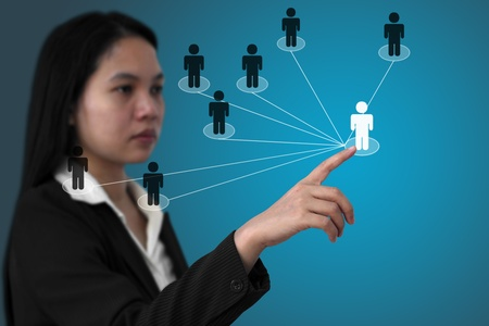 asian business woman do social network (Selective focus on finger) photo
