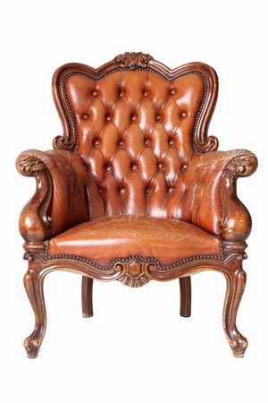 antique chair: isolated Armchair brown genuine leather classical style sofa with clipping path