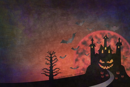 grunge style of pathway to horror castle halloween background photo