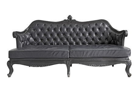 isolated Armchair black genuine leather classical style sofa with clipping path photo