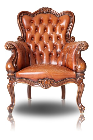 Armchair brown genuine leather classical style sofa with clipping path Stock Photo - 10542063