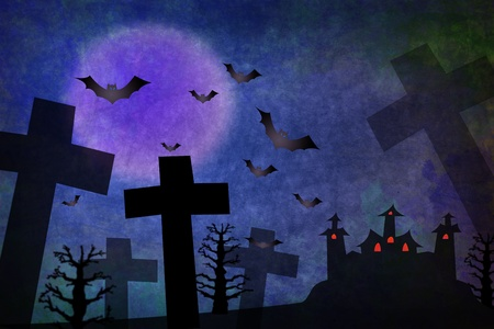 Blue Grunge horror background for Halloween concept photo