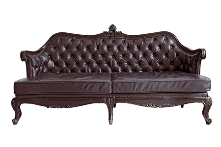 isolated Armchair Brown genuine leather classical style sofa . Stock Photo - 10559541