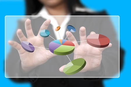 index: businesswman hand touch pie chart on touch screen