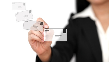 asian business woman: Asian business woman sending mail to world social network Stock Photo