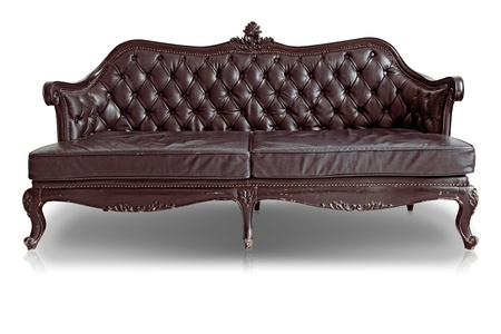 brown leather sofa: Armchair brown genuine leather classical style sofa with clipping path