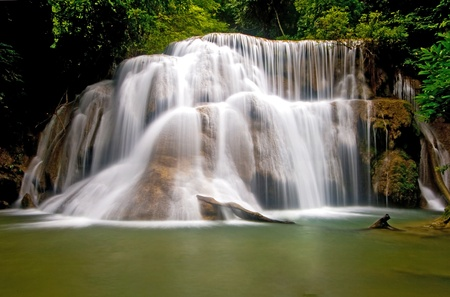Huay Mae Khamin tropical Waterfall, Paradise waterfall in deep jungle of Thailand photo
