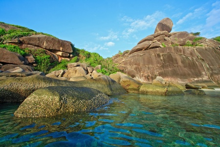 national plant: sailing rock landmark of Similan National Park Phuket beach Thailand Stock Photo