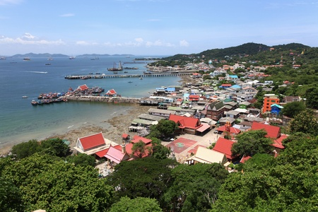 aerial view of fisherman pier in with village and town at Srichang Island Pattaya Thailand