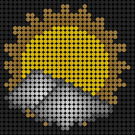 weather sun with cloud icon on technology LED Screen photo