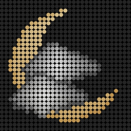 weather crescent moon with cloud on Technology LED Screen Stock Photo - 10743952