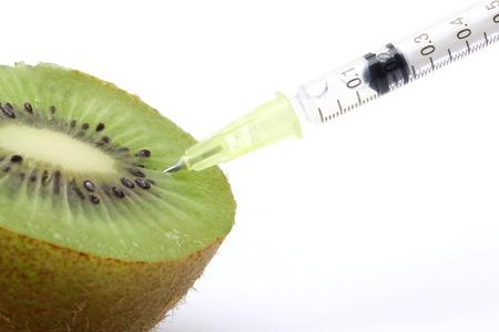 biotecnologia: Concepto de ingeniería de alimentos genéticos con Kiwi & jeringa Foto de archivo