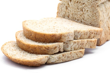 thresh grain: closeup of sliced Fresh whole wheat bread Stock Photo