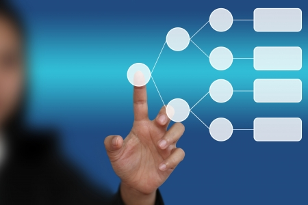 subset: hand push on blank decision tree diagram in hand for business analyze Stock Photo