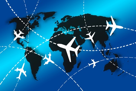 airs: planes Routes around the world for travel concept Stock Photo