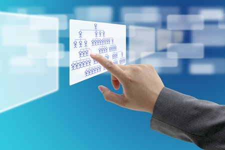 input devices: man hand touch on vacant position in organization chart for Job Seeking concept Stock Photo