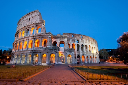 rome italy: Colosseum or colosseo at dusk Rome Italy Stock Photo