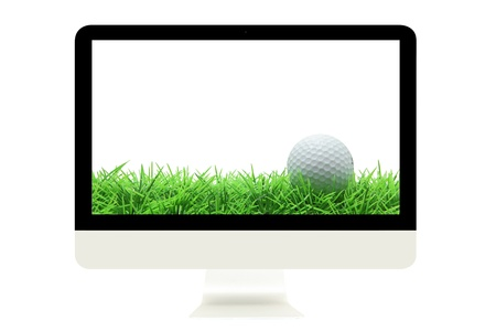 computer clubs: golf ball on grass in modern monitor Stock Photo