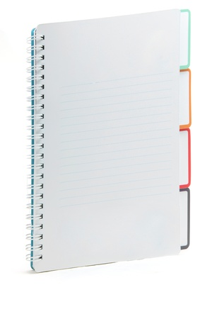 ring binder: Ring binding book with document index isolated on white