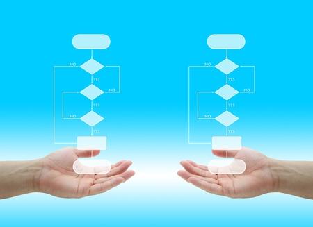 tree diagram: due blank diagramma ad albero decisionale in mano per le imprese di analizzare