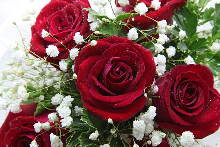formal garden: closeup of rose bouquet using in wedding or any greeting ceremony
