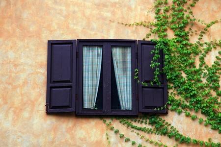 ventanas abiertas: abrir las ventanas de madera de estilo italiano con planta