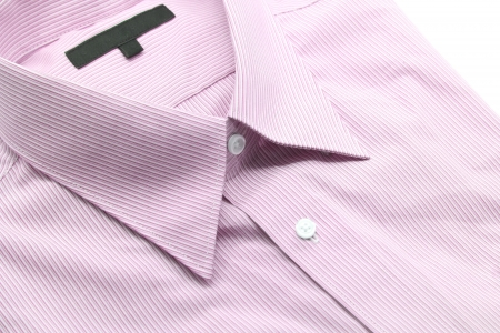 Close up view of a generic red business shirt with a line pattern photo