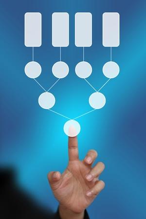 diagrama de arbol: Empuje la mano en el diagrama de �rbol de decisi�n en blanco en la mano para los negocios analizar