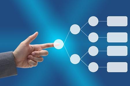 diagrama de arbol: empujar al hombre a mano en el diagrama de �rbol de decisi�n en blanco en la mano para los negocios analizar