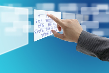 man hand touch at vacant Head of Organization Chart for CEO recruitment concept Stock Photo - 10852632